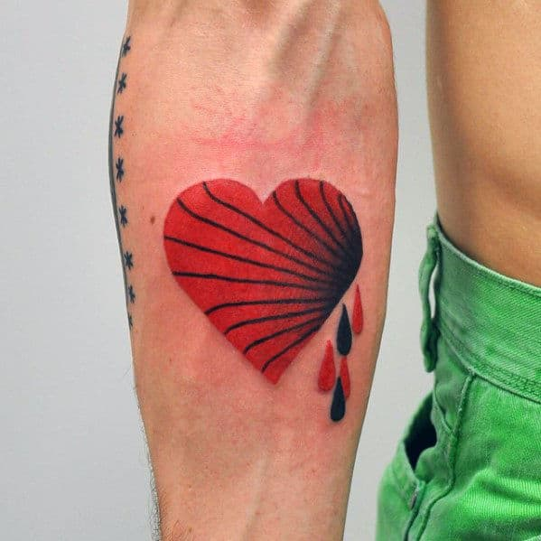 Mens Awesome Small Heart With Drops Inner Forearm Tattoo