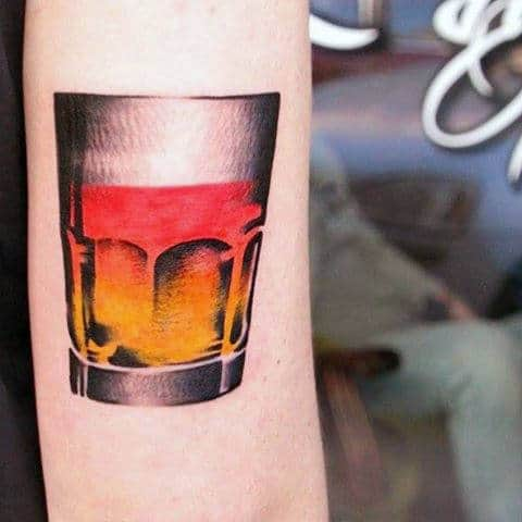 Mens Awesome Small Whiskey Glass Tricep Tattoos