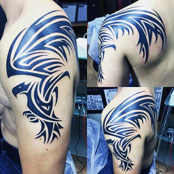 Mens Awesome Tribal Eagle Upper Arm Tattoos