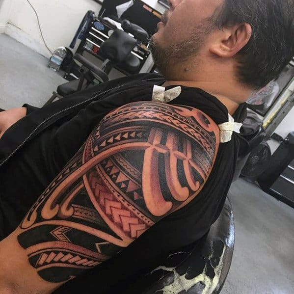 Mens Awesome Tribal Tattoo Design Inspiration Half Sleeve Polynesian