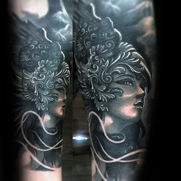 Mens Awesome Valkyrie Forearm Sleeve 3d Tattoo Ideas