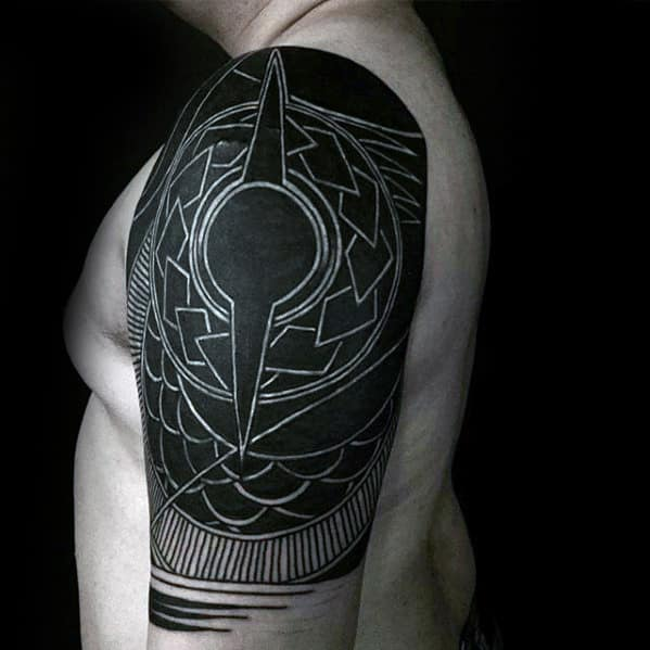Mens Awesome White Ink Over Black Half Sleeve Tribal Tattoos