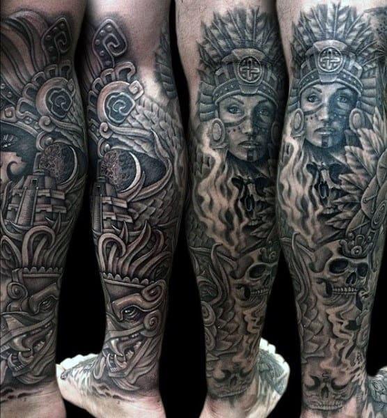 80 Aztec Tattoos For Men - Ancient Tribal And Warrior Designs Aztec Calendar Sleeve Tattoos