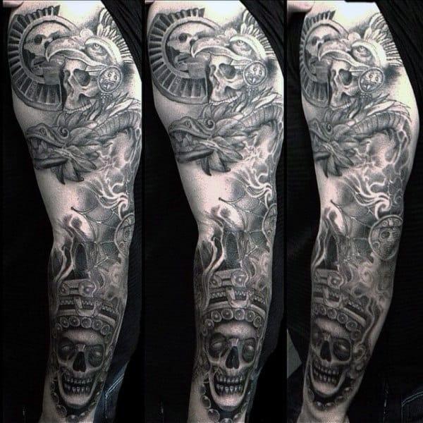 Men's Aztec Skull Tattoo