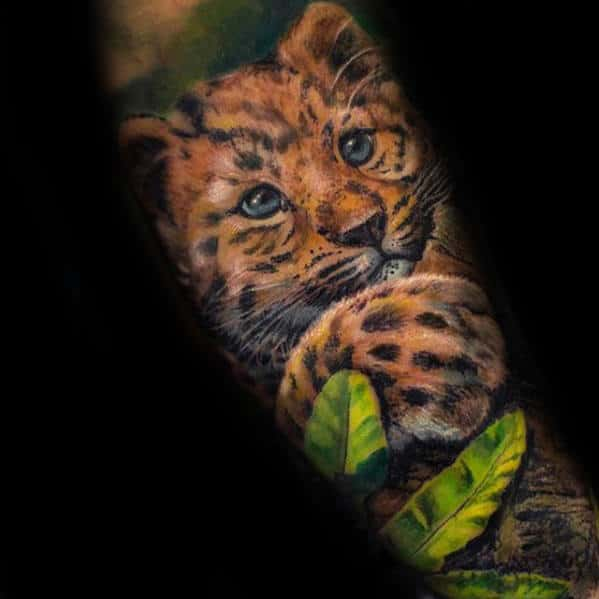 Mens Baby Cheetah Forearm Sleeve Tattoo