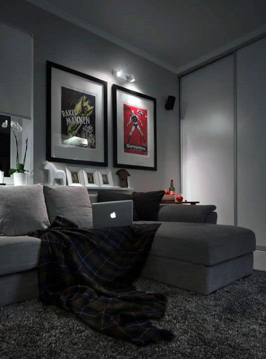 Mens Bachelor Pad Living Room With Grey Color Scheme