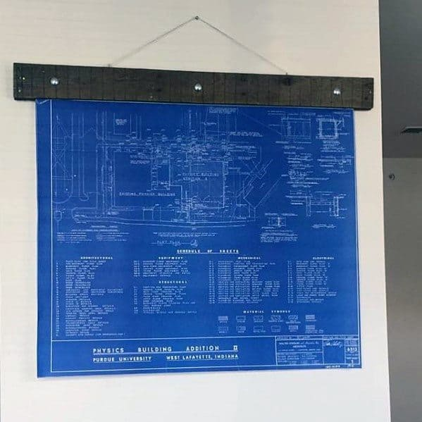 Mens Bachelor Pad Wall Art Blueprints
