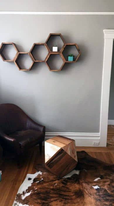 Mens Bachelor Pad Wall Art Hexagon Wood Shelf