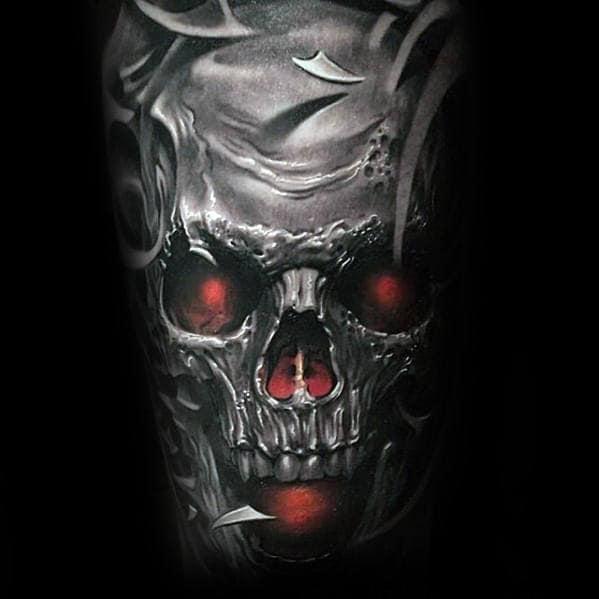 Mens Back 3d Glowing Red Skull Tribal Back Tattoo