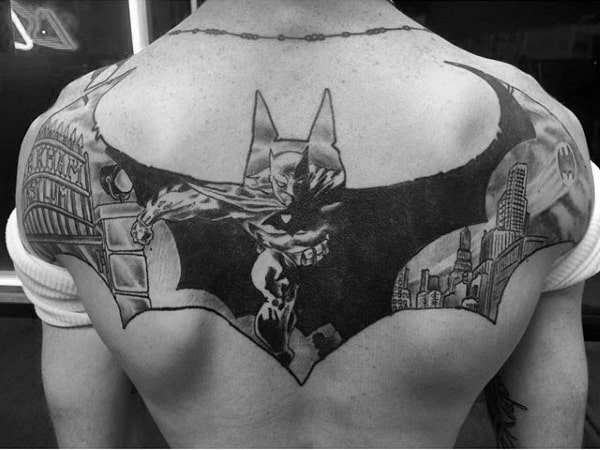 Mens Back And Shoulder Batman Tattoos