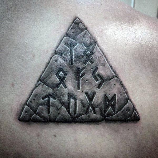 Mens Back Black And White Greek Symbols On Triangular Block Tattoo