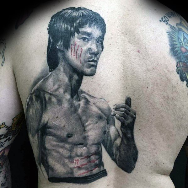 Mens Back Bruce Lee Tattoo