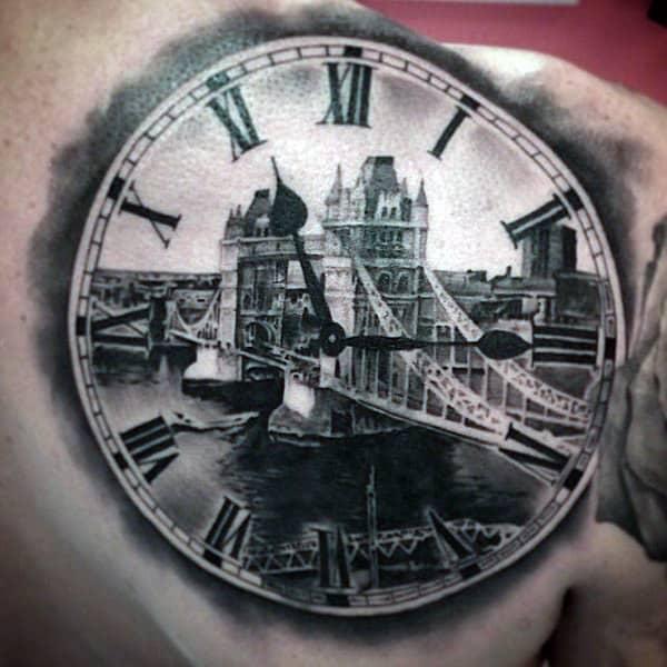 Mens Back Clock Tattoo