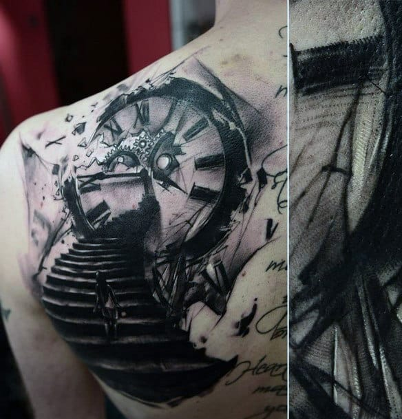 Men's Back Clock Tattoos