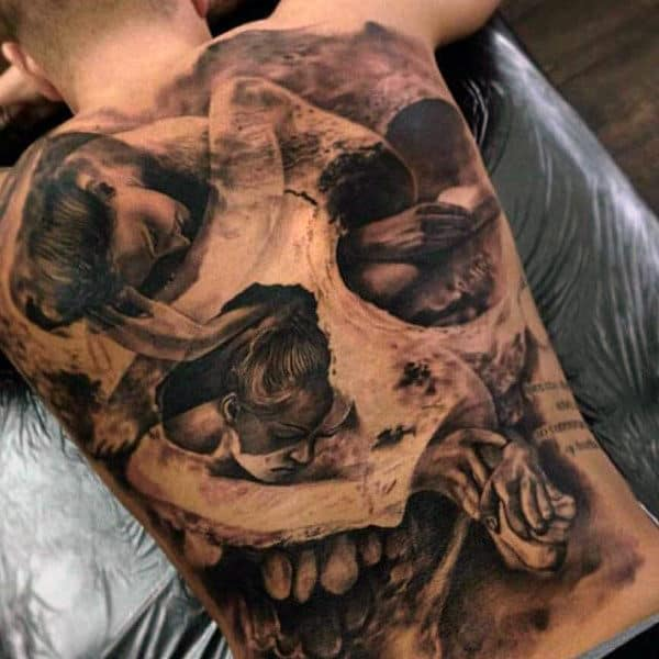 Mens Back Cool Skull And Sleeping Women Tattoo