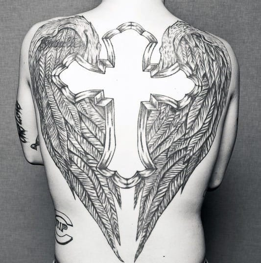 Men's Back Cross Tattoo Inspiration