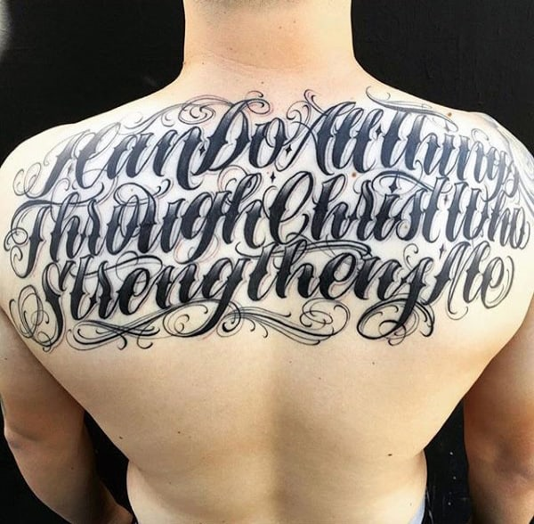 Mens Back Curly Lettering Tattoo