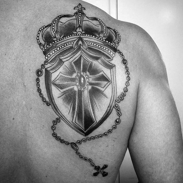 Mens Back Dazzling Crown And Cross Tattoo