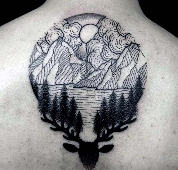 Mens Back Deer With Mountains Circle Woodcut Tattoo Ideas