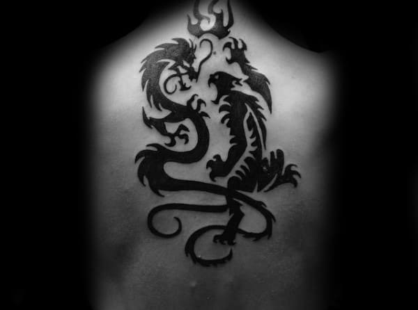 Mens Back Dragon And Tiger Tribal Tattoo Design Ideas