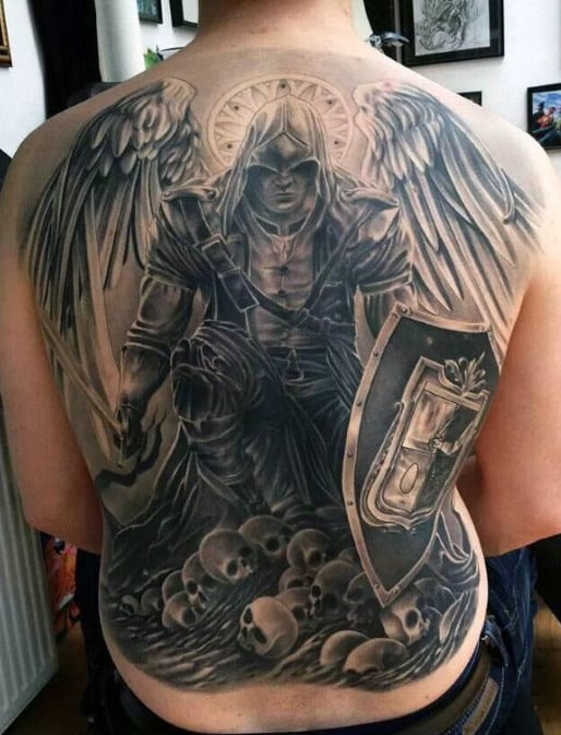 6fbf88710 Mens Back Guardian Angel In Warrior Costume And Skulls Tattoo