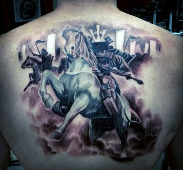 Men's Back Horse Riding Samurai Tattoo