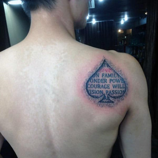Mens Back Inspiration Words In Ace Tattoo