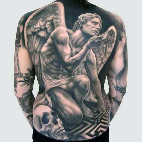 Mens Back Kneeling Guardian Angel And Skull Tattoo