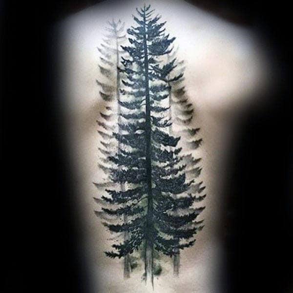 Mens Back Large Black Watercolor Tree Tattoo