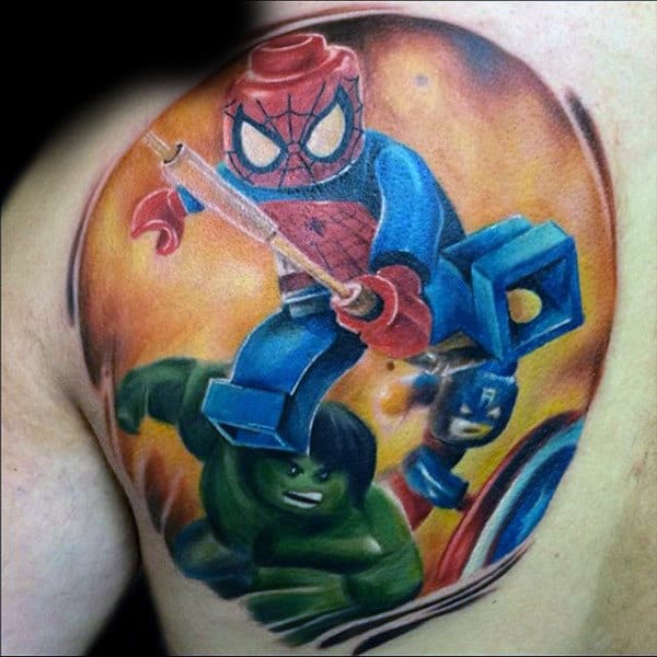 Mens Back Lego Spiderman Tattoo