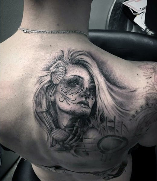 Mens Back Long Haired Grey Shaded Day Of The Dead Tattoo
