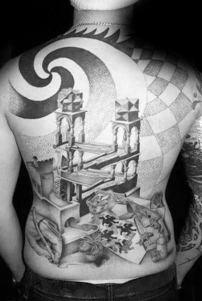 Mens Back Mc Escher Tattoo Design Ideas