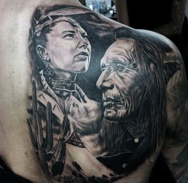 Mens Back Native Amrican Woman And Man Tattoo