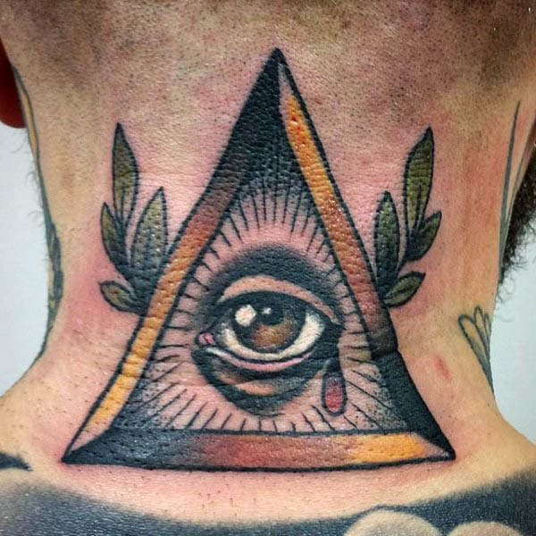 Mens Back Neo Traditional Eye In Triangle Tattoo