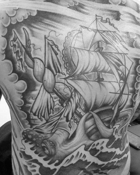 Mens Back Octopus Sailing Ship Shaded Tattoo Designs