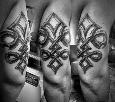 Mens Back Of Arm 3d Tribal Tattoos