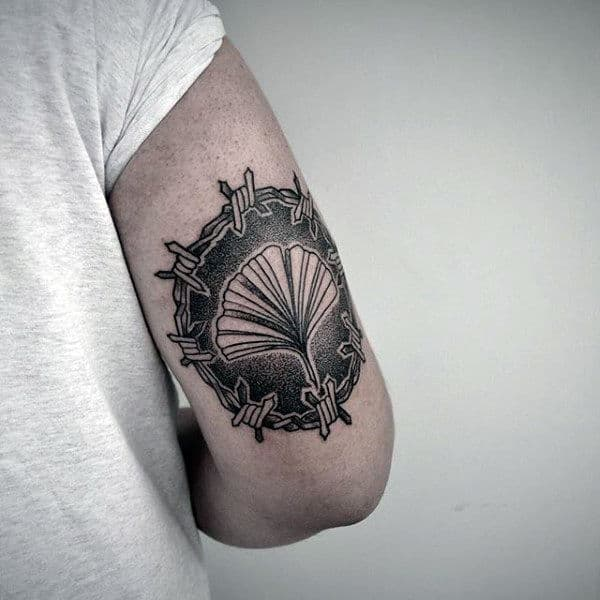 Mens Back Of Arm Barbed Wire Circle Tattoo