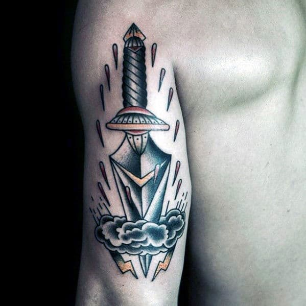 Mens Back Of Arm Traditional Dagger Through Clouds Tattoo