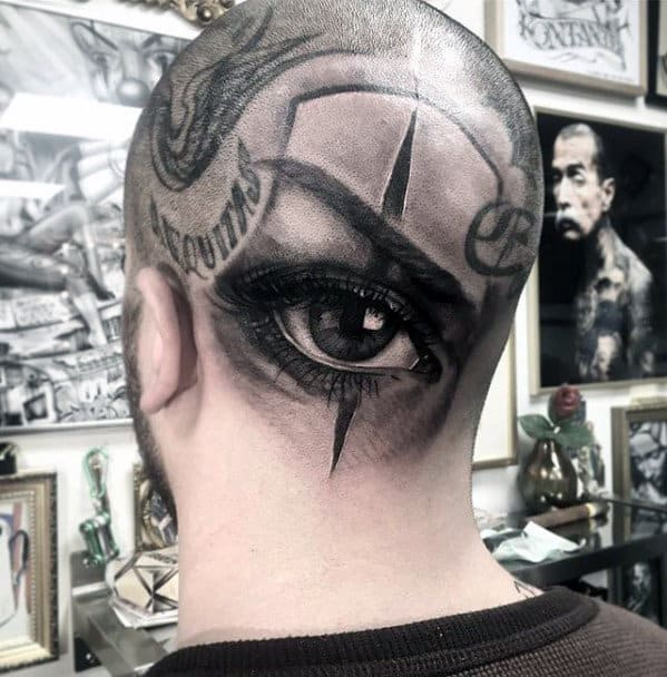 Mens Back Of Head Realistic Eye Tattoo Ideas