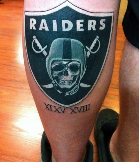 Mens Back Of Leg Calf Oakland Raiders Nfl Logo Tattoo Designs
