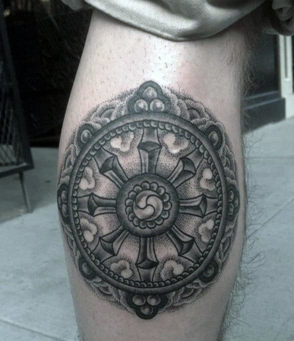 40 Dharma Wheel Tattoo Designs For Men Dharmachakra Ink Ideas