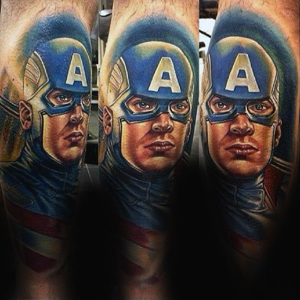 Mens Back Of Leg Captain America Portrait Tattoo