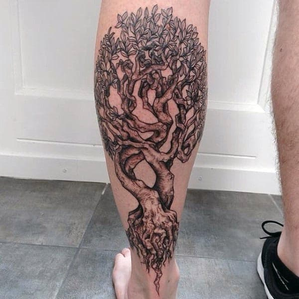 Mens Back Of Leg Detailed Tree Of Life Tattoo