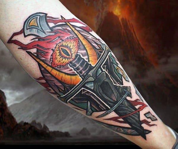 Mens Back Of Leg Eye Of Sauron Tattoo Design Ideas