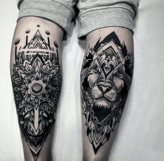 Mens Back Of Leg Ornate Lion Tattoo Designs