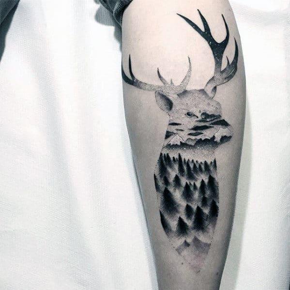 Mens Back Of Leg Small Deer Head Tree Forest Tattoo Design