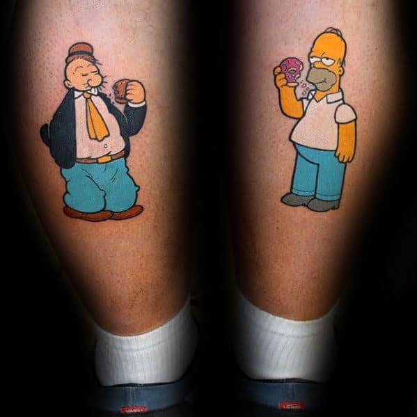 Mens Back Of Legs Tattoo Ideas With Homer Simpson Design