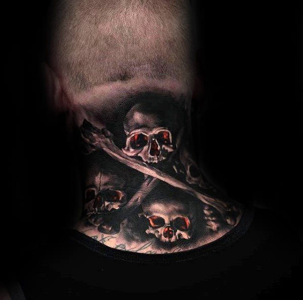 Mens Back Of Neck 3d Skull And Crossbones Tattoo