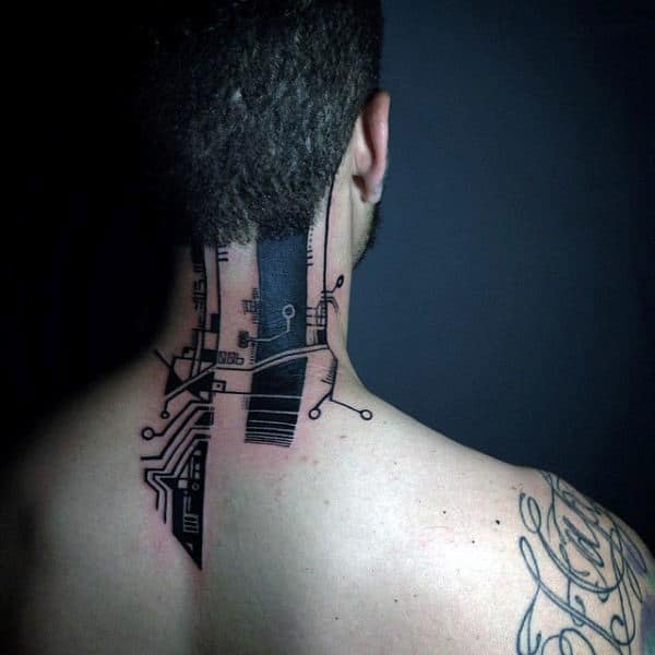 Mens Back Of Neck Circuit Board Tattoo With Black Ink