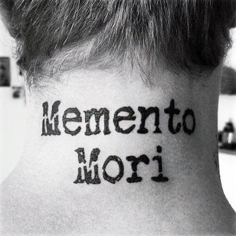 Mens Back Of Neck Memento Mori Typewriter Font Tattoos
